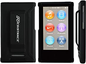 iPod Nano 7 Gen Case, Resistance Shock Absorbing Protective Case with Metallic Finish and Built-in Belt Clip for iPod Nano 7 (7th Generation) (Black)