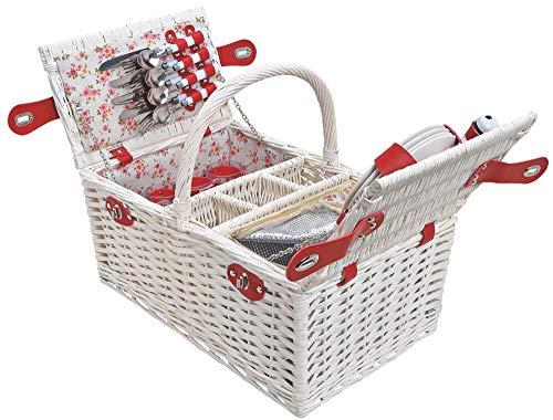 matches21 HOME & HOBBY picknickmand 4 personen EXCLUSIVE rieten mand opvouwbare mand wit/rood 24 stuks inclusief herbruikbaar servies