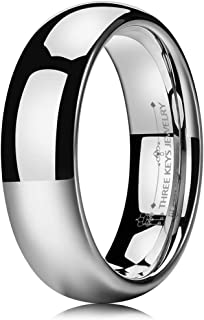 THREE KEYS JEWELRY 2mm 4mm 6mm 8mm White Tungsten Wedding Ring for Women Classic Dome Engagement Band