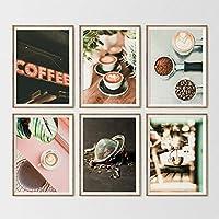 ウォールアートキャンバス絵画フラワーライトコーヒーカップカプチーノ北欧ポスターとプリント壁の写真リビングルームコーヒーショップ-30x40cmx6個フレームなし