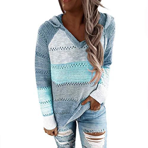 Sfit Jersey de punto para mujer, con capucha, a rayas, bloque de color, de manga larga, cuello en V, con capucha, patchwork, informal, cordón, jersey azul claro S