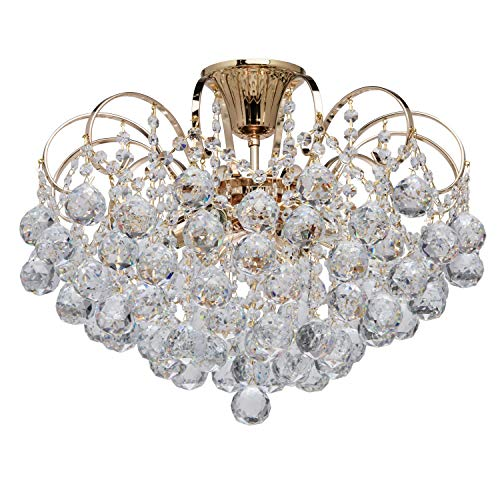 MW-Light 232016406 Lustre Magnifique Design Baroque en Métal couleur Or décoré de Pampilles Boules en Cristal...