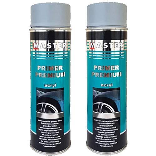 Troton Füller 1K GRAU 2 x 500ml Premium Primer KORROSIONSCHUTZ Spray GRUNDIERUNG ACRYL FÜLLER HAFTGRUND Auto Primer