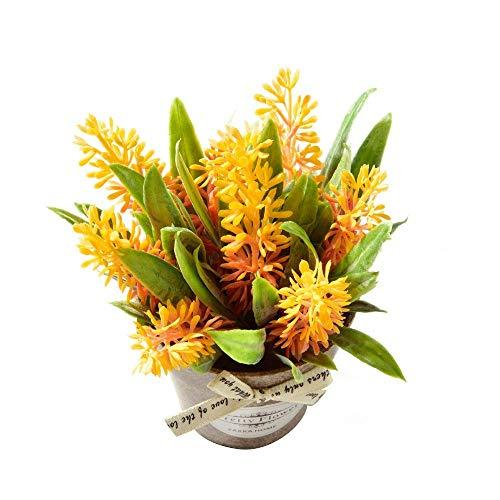 YAMMY Künstliche Pflanzen Blumen, Gefälschte Blumen-Hybrid-Gras Mit Kunststoff Vase Bonsai Künstliche Blumen Für Hochzeit Wohnzimmer Garten Bauernhof Dekoration