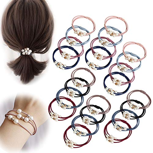 Winrase 24pcs 3-in-1 High Elastic Rubber Band Hair Ties with Shiny Beads Hair Scrunchies Loss-proof Hair Ring Hair Band Ponytail Holder for Women Girls (Style-A 24pcs)