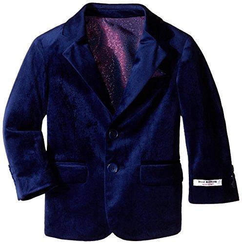 Isaac Mizrahi Black Label Boys' Little Single-Breasted Velvet Blazer, Cobalt Blue, 6