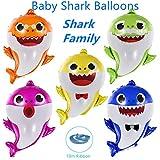 Baby Shark Balloons - EQARD 25' Cute Shark Balloons for Party Decorations,5 Pcs Shark Family Balloons for Baby Shark Birthday Decorations,Helium Balloons for Baby Shark Party Supplies(Ribbon Included)