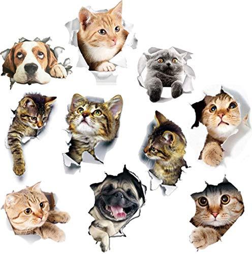 Fiyuer 3D Katzen wandtattoo 20 Pcs wandaufkleber Katze wandsticker kühlschrankaufkleber wc Aufkleber türaufkleber kinderzimmer Küche Wand Dekor