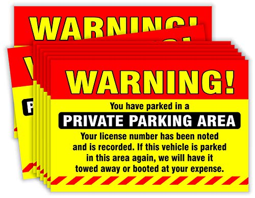 """Private Parking Stickers (Pack of 50) Reserved No Permit Area Violation Warning Notice Vehicle is Illegally Parked - Large Size 6"""" X 9"""" – Yellow Photo #5"""