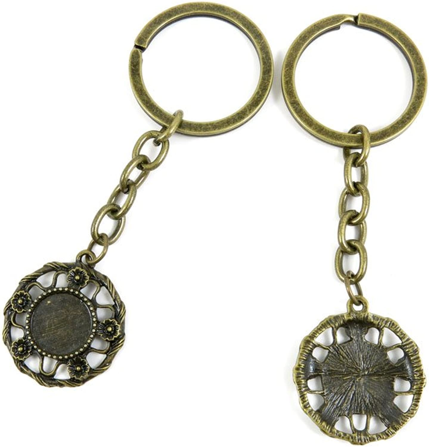 100 PCS Keyrings Keychains Key Ring Chains Tags Jewelry Findings Clasps Buckles Supplies C4VB6 Round Cabochon Frame Blank 12MM