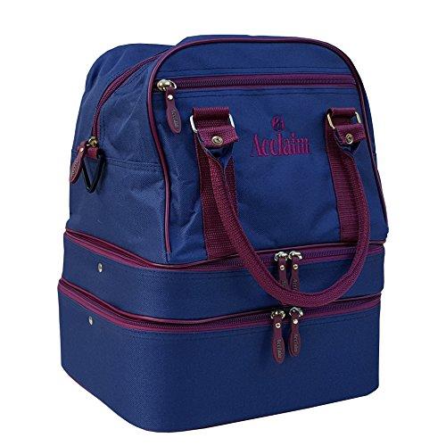 Blyth Bowlingtasche, grasgrün, vier abgetrennte Fächer, mehrere Ebenen, aus Nylon, Marineblau / Burgunderrot