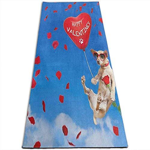 Valentine 'Tapis de Yoga Floral Rose 'S Day Pug Dog Rose - Tapis de Yoga pour Exercices de Yoga, Pilates, Exercices au Sol, Stretch [61X180Cm]