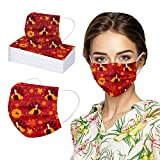Metoy9 50PCS Adults Unisex Printed Thanksgiving Soft Disposable_Face_MASK Protection for Women and Men, Fashion Unwashable Outdoor Anti-Haze Sunscreen For Cycling Camp