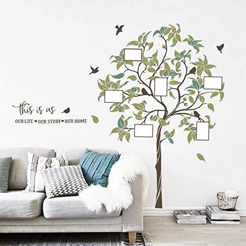 decalmile Pegatinas de Pared Árbol de Familiares Grande Vinilos Decorativos DIY Marco de Fotos Aves Adhesivos Pared Salón Dormitorio Oficina (H:156cm)