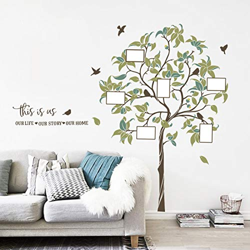 decalmile Large Family Tree Wall Decal DIY Photo Frame Wall Stickers Bedroom Living Room Sofa TV Background Wall Art Décor (H:156 CM)