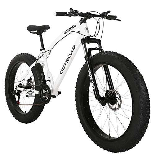 Max4out Fat Tire Mountain Bike 21 Speed Shimano Derailleur, with High Carbon Steel Frame, Double Disc Brake and Front Suspension Anti-Slip Bikes with 26 inch Wheels White