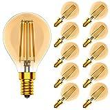 Tuoplyh Vintage Bombillas Filamento LED E14 (Casquillo Fino) 4W Equivalente a 40W, 400 Lúmenes, Blanco Cálido 2700K,Regulable,CRI80,Pack de 10 Unidades