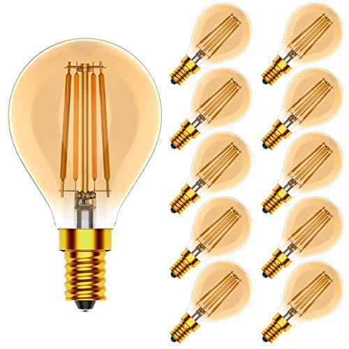 10er Dimmbar E14 LED Leuchtmittel Tropfenform 4W Ersetzt 40 Watt Glühbirnen,Vintage LED Filament Glühlampen,Warmweiß 2700K,CRI >80, 400LM,AC 220V