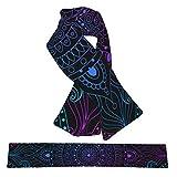 ZVEZVI Arabesco oriental con cordones decorativos vintage Mandala franela cuello bufandas felpa doble cara suave envolturas ligeras para mujeres, hombres y adolescentes