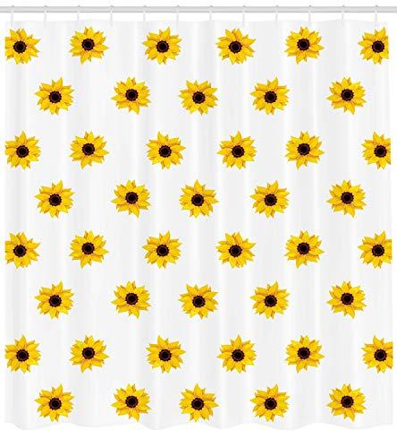 ABAKUHAUS Gelb Duschvorhang, Sonnenblume-Muster-Natur, mit 12 Ringe Set Wasserdicht Stielvoll Modern Farbfest & Schimmel Resistent, 175x220 cm, Gelb