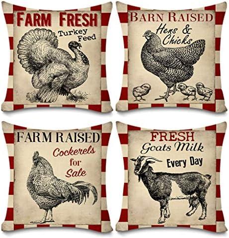 Faromily Vintage Farmhouse Animals Pillow Covers Red Buffalo Plaids Farm Fresh Turkey Hens Chicks product image