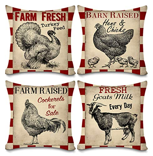 Faromily Vintage Farmhouse Animals Pillow Covers Red Buffalo Plaids Farm Fresh Turkey Hens & Chicks Goats Throw Pillow Case Cushion Cover 18  X 18  Set of 4 Farmhouse Decorations (Red)