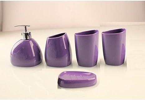 Amazon Com 4 Pieces Purple Bathroom Accessories Set Acrylic Bathroom Ensemble Soap Dish Soap Dispenser Tumbler Purple 5 Home Kitchen