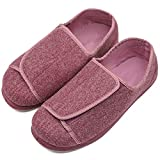 Womens Diabetic Edema Slippers with Adjustable Closures Wide Width House Diabetes Strap Footwear Comfortable Orthopedic Shoes Easy On Off for Elderly Wide Swollen Feet Arthritis Red