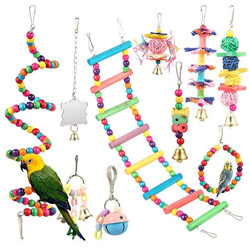 Vogelkäfige Zubehör,10 Stück bunte Vogel Barsch Stand Plattform, Holzleitern Hängematte, Papagei Spielzeug mit Glocken für kleine mittlere Papageien Nymphensittiche, Wellensittich und schöne Vögel