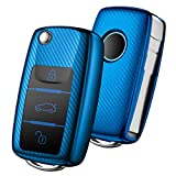 OATSBASF Autoschlüssel Hülle VW,VW Golf Schlüsselbox,Schlüsselhülle Cover für vw Polo Passat Skoda Seat 3-Tasten(Blau-Streifen)