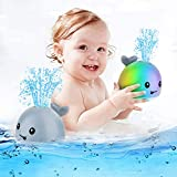 CHENYING Baby Shower Toys Whale Automatic Induction Water Spray Toy (with LED Light), Bathtub Toys Children's Favorite Baby Water Toys Durable Electric Induction Water Spray Bathtub Whale (Gray)