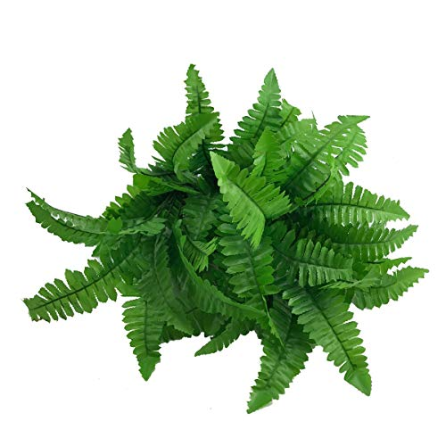 Oopsu 5 Bunches Fake Faux Artificial Boston Ferns Plants Greenery Bushes for Indoor Outside Home Garden Office Verandah Wedding Decor