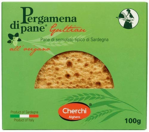 Cherchi- Pergamena di Pane – Guttiau – Crackers van griesmeelbrood met olijfolie en oregano Typisch Sardijns brood – 100…