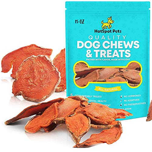 Natural Sweet Potato Dog Treats – No Fillers, Preservatives, or Harmful Ingredients – 15 Oz – Grain Free & Low Protein Diet for Sensitive Pets – Edible Tasty 100% Vegetarian Dog Chews–