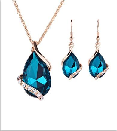 Clearance!!! 4-Color Drop Pendant Necklace Earrings Jewelry Set Zircon Retro Necklace Earrings Ring Wedding Party Bridal Jewelry Set for Women (Dark Blue)