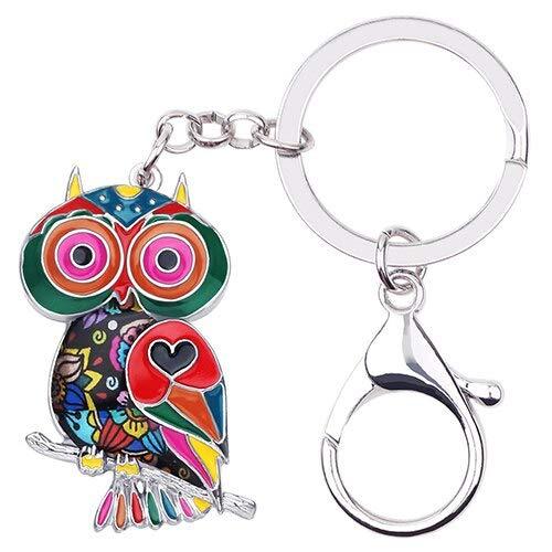 YASIKU sleutelhanger van legering met emaille nieuwigheid uil vogel sleutelhanger sieraden dieren geschenk voor dames tas voor auto charms aanhanger
