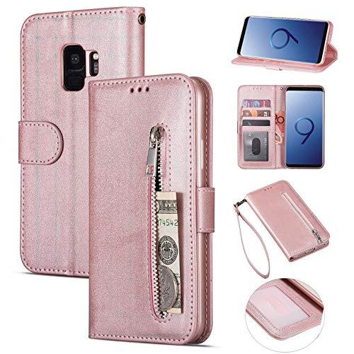 ZTOFERA Brieftasche Hülle für Samsung Galaxy S9, Reißverschluss PU Leder Magnetisch Flip Folio Kartenhalter mit Trageschlaufe Ständer Zipper Geldbörse Schutzhülle für Galaxy S9 - Roségold
