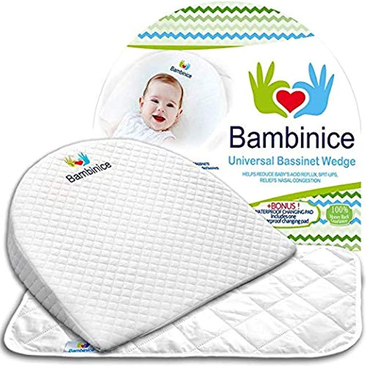 Bambinice Universal Bassinet Wedge - Infant Crib Pillow - Waterproof Changing Pad Liner – Portable Incline Cushion - Newborn Reflux and Nasal Congestion Reducer - Ebook - Perfect Baby Shower Gift