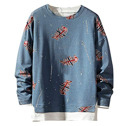 Deep lovly Herren Tops Plain Fake Zweiteiler Fashion Print 2 Ärmel Wachen Pullover Langarm Schweiß Herbst/Winter Mode Plus Size Komfort Cool Cool Atmungsaktives Top Student Boy Feel