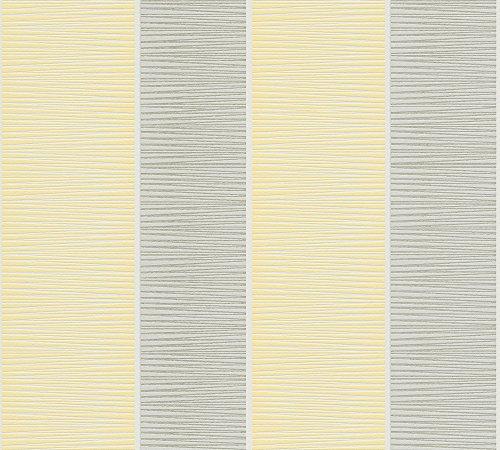 Livingwalls Vliestapete Graphic & Colours Tapete Blockstreifentapete 10,05 m x 0,53 m gelb grau weiߟ Made in Germany 324552 32455-2