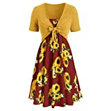 Aniywn Women Bow Knot Top Mini Dress Suits Set Sunflower Print Short Sleeve Pleated Swing Dress Wine