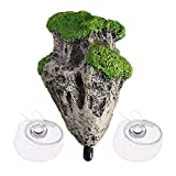 Angelliu - Piedra de Resina de Roca de Musgo Flotante con 2 Piezas de ventosas e Hilo de Pescar, decoración de Acuario, pecera, Rocas Decorativas, Piedra de Musgo Artificial, Roca Flotante