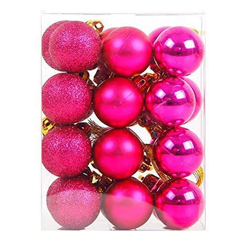 Gifftiy Palle di Natale Set con 12 Pezzi/Set 4 Cm O 6 Cm Palla di Natale Appesi Ornamenti per Appendere L'Albero per La Decorazione del Partito - 7 Colori Misti -2555396