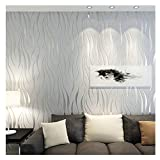 XLGX Papier peint intissé 10M Rouleau de papier peint gaufré à rayures ondulées Décoration Murale Rouleau Papier Peint Damasse pour Chambre TV Decoration (Argent)