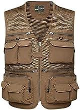 FEVIJNB jachtvest mannen zomervest mannen fotograf groot vest tooling mouwloze jas met veel zakken XL kaki vest