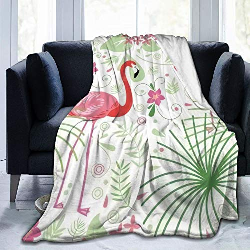 Tropical Plants Flamingos Ultra-Soft Micro Fleece Blanket