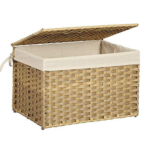 SONGMICS Aufbewahrungsbox aus Polyrattan, Aufbewahrungskorb, 65 L Wäschekorb, dekorative Truhe mit Deckel, Griffen und Baumwollsack, rechteckig, geflochten, Schlafzimmer, Waschküche, Natur RST56NL