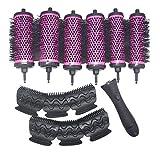 WMY 6 unids/Set 3 tamaños de Cepillo de Rodillo de Pelo con Mango Desmontable con Pinzas de posicionamiento rizador de Barril de cerámica de Aluminio Peine de peluquería