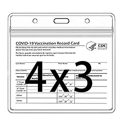 CDC Vaccination Card Protector 4 X 3 in Immunization Record Vaccine Horizontal ID Card Name Tag Badge Cards Holder Clear Vinyl Plastic Sleeve with Waterproof Type Resealable Zip (3 Pack)