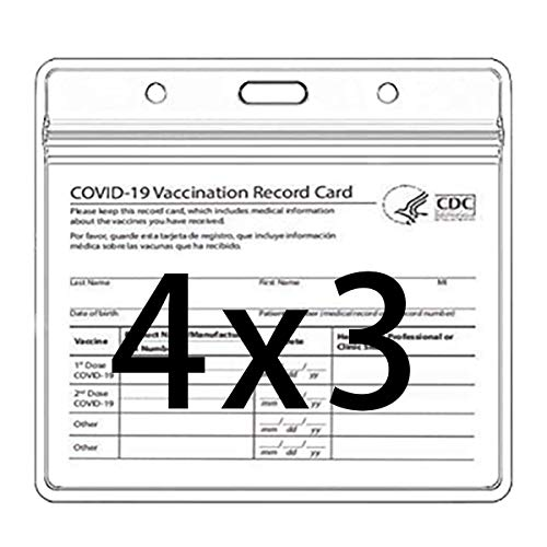 CDC Covid Vaccination Card Protector 4 X 3 in Immunization Record Vaccine Horizontal ID Card Name Tag Badge Cards Holder Clear Vinyl Plastic Sleeve with Waterproof Type Resealable Zip (5 Pack)